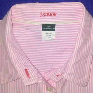 J CREW pink white stripe slim fit blouse size S
